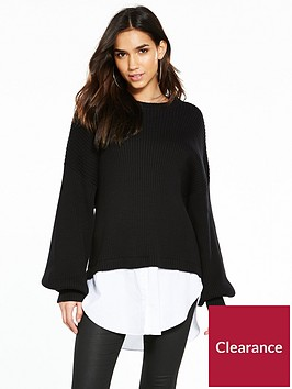 noisy-may-long-sleeve-mix-knit-black