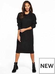 noisy-may-loone-long-sleeve-knit-dress-black