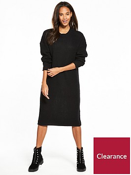 noisy-may-loone-long-sleeve-knit-dress-black