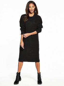Noisy May Loone Long Sleeve Knit Dress - Black