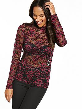 Vero Moda Elsa Lace Long Sleeve Top - Zinfandel