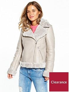 miss-selfridge-petite-shearling-jacket