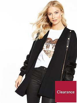 v-by-very-faux-fur-stripe-cuff-cardigan