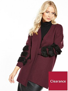 v-by-very-faux-fur-stripe-cuff-cardigan