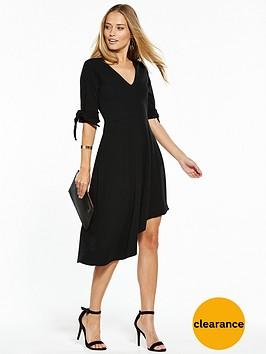 v-by-very-crepe-bow-sleeve-asymmetric-dress-black