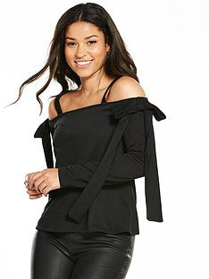 v-by-very-crepenbspbow-cold-shoulder-top-black