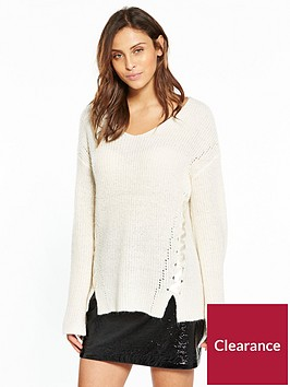 v-by-very-ribbon-lace-up-v-neck-rib-jumper-cream