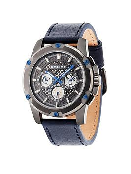 police-police-grid-grey-plate-multi-dial-blue-leather-strap-mens-watch