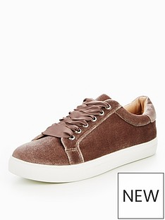miss-kg-lula-lace-up-velvet-trainer