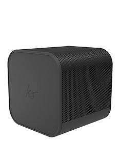 Kitsound Boom Cube Portable Wireless Bluetooth Speaker with Passive Bass Radiator, Metallic Finish and up to 6 hours Play Time - Black