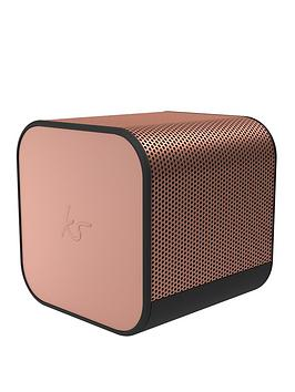 Kitsound Boom Cube Portable Wireless Bluetooth Speaker With Passive Bass Radiator, Metallic Finish And Up To 6 Hours Play Time - Rose Gold