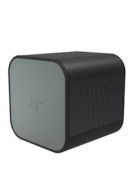 Kitsound Boom Cube Portable Wireless Bluetooth Speaker With Passive Bass Radiator, Metallic Finish And Up To 6 Hours Play Time - Gun Metal