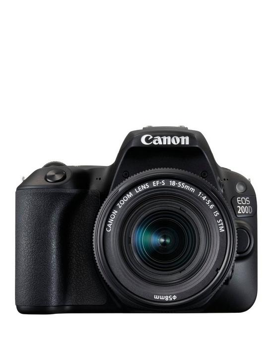 Canon EOS 200D SLR Camera in Black with 18-55mm IS STM Black Lens
