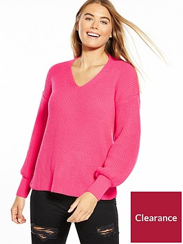 miss-selfridge-twist-back-balloon-sleeve-jumper-pink