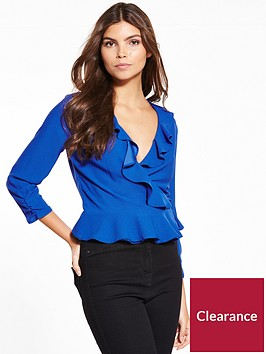 miss-selfridge-cobalt-ruffle-wrap-blouse