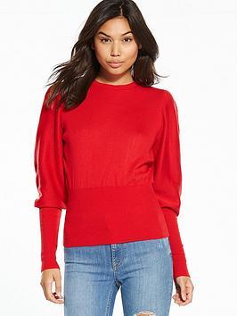 miss-selfridge-volume-sleeve-knitted-top