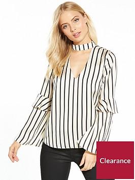 miss-selfridge-stripe-satin-choker-neck-blouse