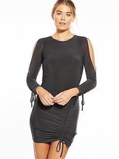 miss-selfridge-roxy-rouched-dress-charcoal