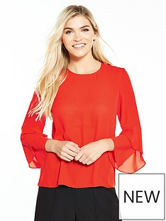 warehouse-fluted-cuff-top-red