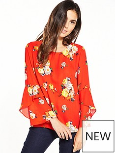 warehouse-victoria-floral-fluted-cuff-top-ndash-orange