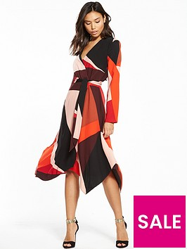 warehouse-cut-out-block-wrap-dress-red-pink-print