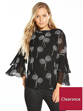 warehouse-dandelion-chiffon-top-black