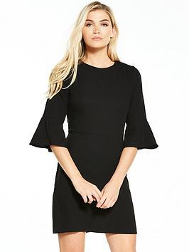 warehouse-flute-sleeve-dress-black