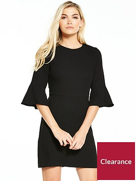 warehouse-flute-sleeve-dress-black