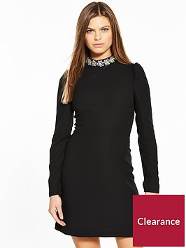 warehouse-embellished-collar-dress
