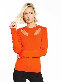 warehouse-cut-out-petal-jumper-orange