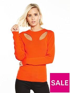 warehouse-cut-out-petal-jumper-orange