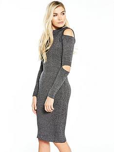 warehouse-ribbed-slash-sleeve-dress-grey-marl
