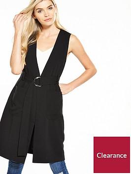 warehouse-d-ring-sleeveless-jacket-black
