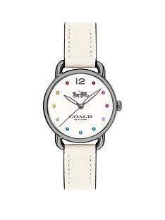 coach-coach-delancy-rainbow-stone-markers-grey-plate-case-with-chalk-leather-strap-ladies-watch