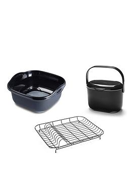 addis-premium-washing-up-bowl-compost-food-caddy-amp-wire-dish-drainer-black-grey