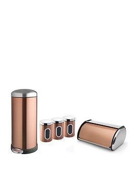 Addis Addis Copper 30 Litre Retro Metal Bin &Amp; Storage Set, Copper Review thumbnail