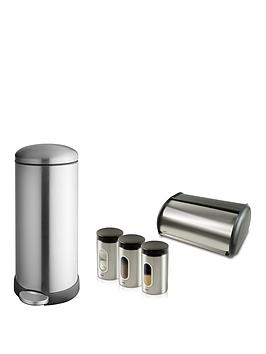 Addis Addis Stainless Steel 30 Litre Retro Metal Bin &Amp; Storage Set, Stainless Steel Review thumbnail