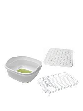 Addis Addis Premium Washing Up 3Pcs Set With Drying Mat, White Green Review thumbnail