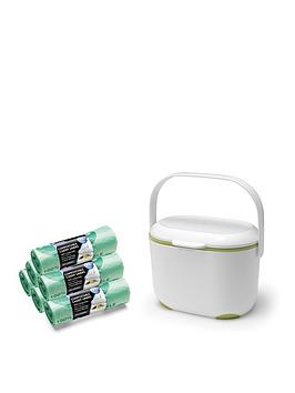 Addis Addis Premium Food Waste Compost Caddy With 120 Compost Liners, White &Amp; Green Review thumbnail