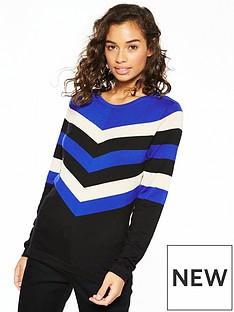 wallis-wallis-petite-chevron-colour-block-jumper