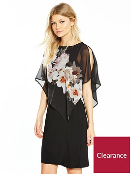 wallis-petite-mono-floral-overlayer-dress