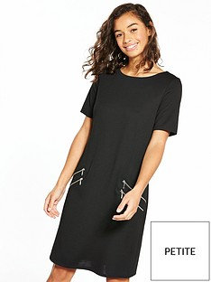 wallis-petite-zip-front-ponte-dress