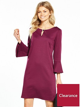 wallis-petite-flute-sleeve-ponte-dress-berry