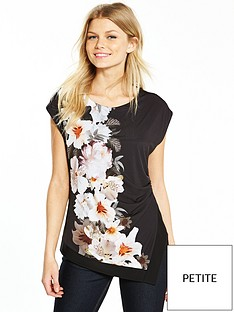 wallis-petite-mono-floral-posh-top-black