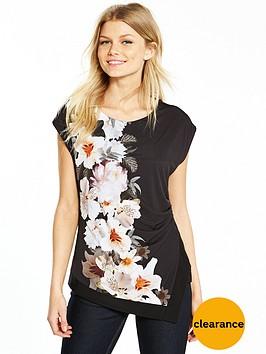 wallis-petite-mono-floral-posh-top-black