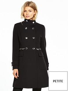 wallis-petite-zip-funnel-coat-black