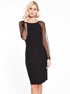 wallis-spot-mesh-sleeve-dress