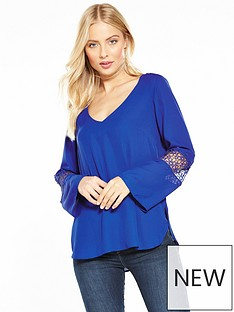 wallis-crochet-insert-sleeve-blouse