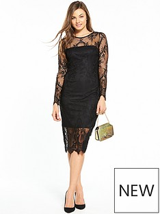 wallis-scallop-lace-shift-dress-black