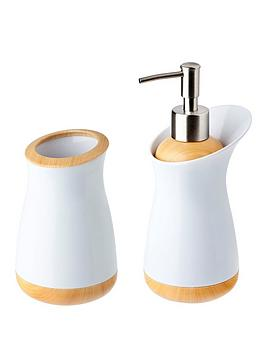 addis-bamboo-collection-soap-dispenser-and-toothbrush-holder-set